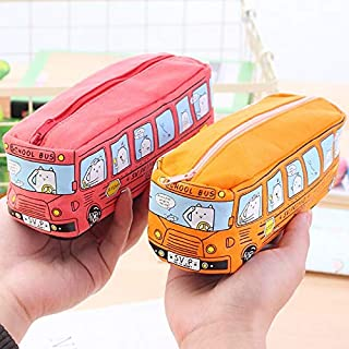 Pencil Bags - 1Pcs Kawaii School Bus pencil case large capacity canvas pencil bag office & school supplies stationery scho...
