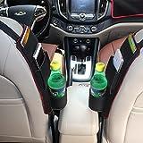 Raiphy Multifonction Poche Latérale de Voiture Seat Sac de Rangement Siège Auto côté Organisateur pour Boissons, Stylos, Lunettes, Snacks, Cartes etc(Brun)