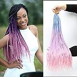 Ombre Box Braids Crochet Hair Hair Braids Pre-Looped Crotchet Box Braids 24 Inch Medium box braid 24Strands Three Tones Heat Resistant Fiber Hair (144strands/lot,Light Blue-Light Purple-Pink)