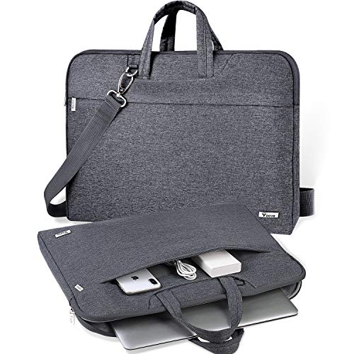 V Voova Laptop Bag Sleeve 14 15 15.6 inch with Shoulder Strap,Slim Computer Carring Case Cover Compatible with MacBook Pro 16,HP Pavilion 15.6,Dell Inspiron 15 3000,Acer ASUS Chromebook 14,Gray