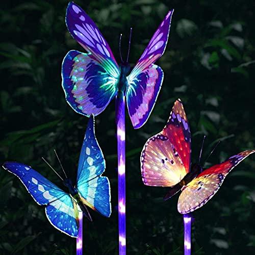 Luces solares de jardín al aire libre - Paquete de 3 LED luces Decorativas de Mariposa de Fibra óptica,Solar del Jardín De La Mariposa Luces Estaca decorativas [Clase de eficiencia energética A]