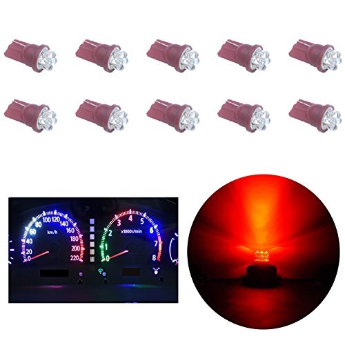 PA 10 pcs Dip 4 x 10 mm Gauge Cluster lumière LED Tableau de bord Jauge Compteur de vitesse Cluster Indicateur lampe ampoules T10 W5 W 12 V