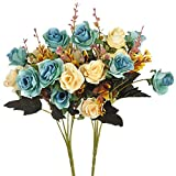 Moomass Artificial Flowers,2 Packs of Artificial Roses.24 Little Rose Silk Flowers. Plastic Flowers,Plants for Home Hotel Wedding Christmas Tables Decorations. Peacock Green(5 Colors in Total)