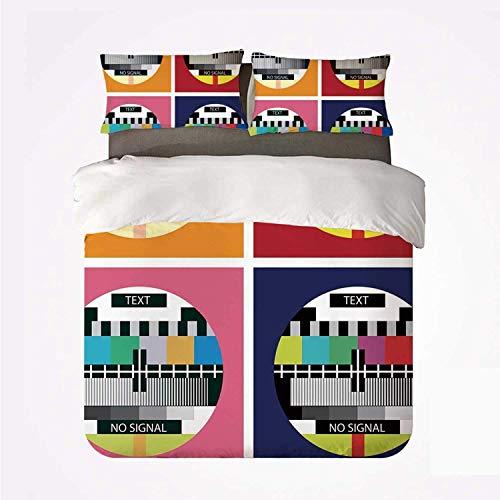 Qoqon Duvet Cover Set Modern Decor Soft 3 Piece Bedding Set,Television Radio Channel Signal Digital Sign in Four Collage Artwork Image for Bedroom
