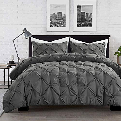 HOMBYS Gray Comforter Set Queen/Full Size Lightweight Soft Pinch Pleat Duvet Insert with 2 Pillow Shams All Season 3-Piece Down Alternative Comforter Sets Hypoallergenic Machine Washable Bedding Set