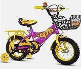 12 Pulgadas Bicicletas Infantiles,NiñO NiñA Bicicleta Con Asiento Trasero Freno Doble Ruedas De Entrenamiento Marco Acero Canasta Asiento Ajustable Asa Para 2 3 4 AñOs AntigüEdad Regalo, Purple/Yellow