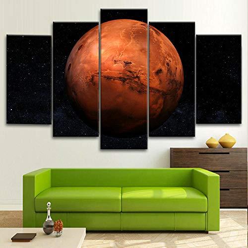 DBFHC Cuadros Modernos Impresión De Imagen Artística Digitalizada Espacio Planeta Marte Lienzo Decorativo para Salón O Dormitorio 5 Piezas XXL