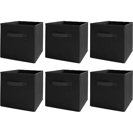 BAAB ORGANIZING Lot de 6 cubes de rangement en tissu avec poignées pour la maison, le bureau, la crèche, la salle de sport (noir)