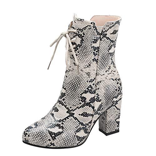 Stiefel Damen Blockabsatz Seitlicher Reißverschluss Schnürsenkel Halbschaft Kurze Stiefel Schlange Muster Schnürstiefel Runder Zeh Freizeit Mode Schuhe (38 EU, Weiß)