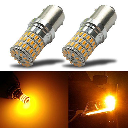 iBrightstar Newest 9-30V Extremely Bright 1156 1141 1003 BA15S LED Bulbs replacement for Turn Signal Rv Lights,Amber Yellow