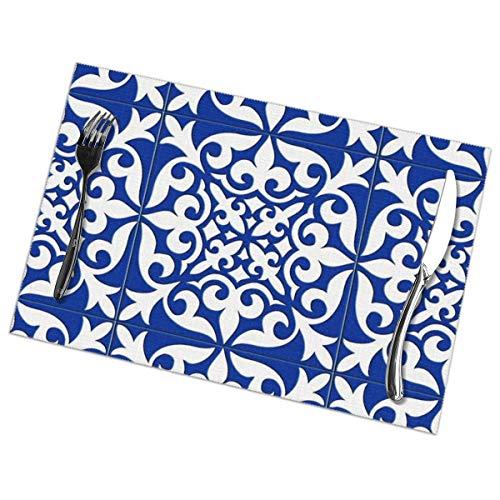 Marokkaanse tegel - kobalt blauwe Placemat wasbaar voor keuken diner tafelmat, gemakkelijk te reinigen gemakkelijk te vouwen plaats mat 12x18 Inch Set van 6