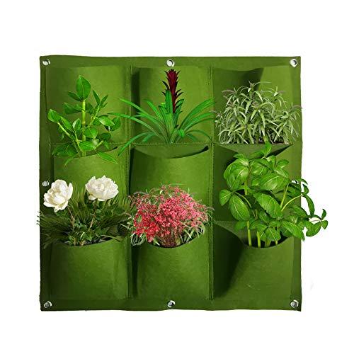 Plantador Vertical del Crecimiento con 9 Bolsillos Bolsas De Cultivo Montaje Pared Bolsas De Plantación Colgante Fieltro Interior Y Exterior Maceta Vertical Planta Bolsos Para Plantas Verduras (Verde)