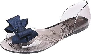 Women Summer Casual Bow tie Open Toe Slip On Sandals Side Cutout Flat Shoes Beach Sandals Walking Shoes by RJDJ