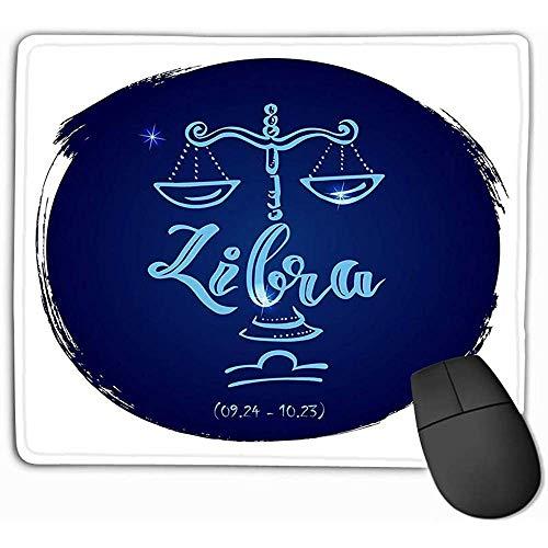 Mousepad Non Slip Rubber Gepersonaliseerde Unieke Gaming Mouse Pad 30X25CM Ronde Zodiac Teken Weegschaal Hand Gekleurde Afbeelding Lettering Deel Collectie Ronde Zodiac Teken Weegschaal