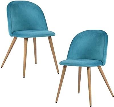 MEUBLE COSY Lot de 2 Chaise de Salle à Manger Velours Bleu Chaise de Bureau Ergonomique Pieds Métal avec Finition en Bois