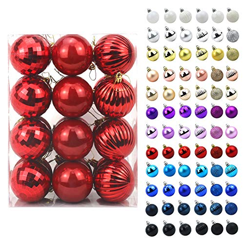 AHIKIDS Christmas Balls Ornaments for Xmas Tree - 24ct Shatterproof Christmas Decorations Tree Ball Holiday Wedding Party Decoration Perfect Hanging 2.36' Set