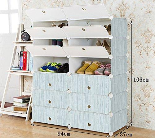 Chaussure Multi-Couches imperméables résistant à la poussière résine en Plastique Montage Rack, Simple Multifonction dortoir ménage Shoe Cabinet (Taille : 94 * 37 * 106cm)