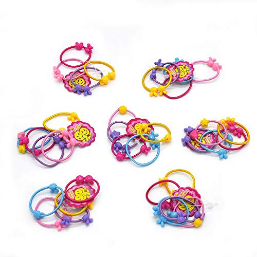 Omystyle Cute Hair Ties Head Bands Ropes Hair Colorful Elastics Ponytail Holder for Baby Toddler Girl Rabbit Ear Apple Rose Heart Nine Styles 50 PCS