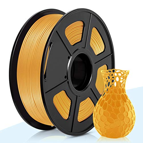 PLA Filamento Oro,3D Warhorse Pla Filamento de Impresion 3D,3D Printer Filament 1.75mm,Dimensional Accuracy +/- 0.02 mm,1KG(Spool),Polylactic Acid Material,1.75mm PLA Gold 3D Printer Filament