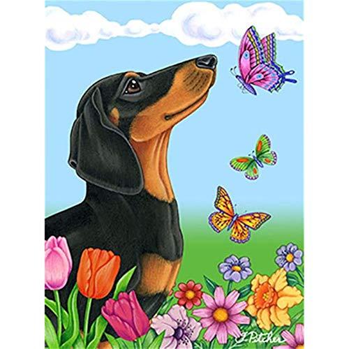 iDIY 5D Voll Runde Drill Diamant Malkasten DIY Kits für Erwachsene und Anfänger Stickerei Arts Craft Butterflies and Black Dogs 11.8x15.7 Inch