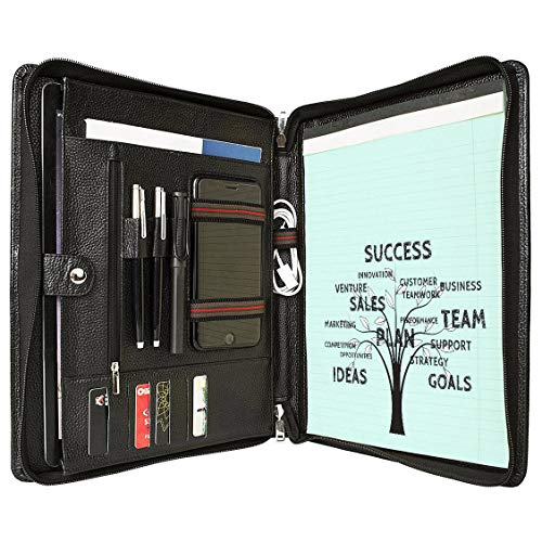 Leather Portfolio Padfolio Briefcase Business Organizer for Office Legal Pad Holder Notepad Folder Letter Size Paper Resumes Interviews iPad/Tablet Executive Folio Women/Men Zippered with Handle,