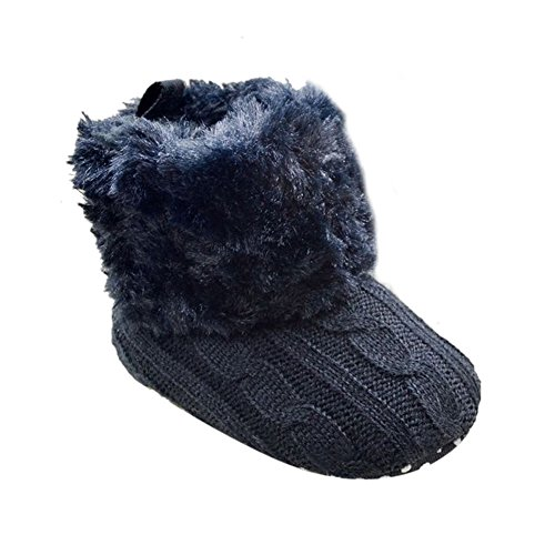 Weixinbuy Baby Girls Knit Soft Fur Winter Warm Snow Boots