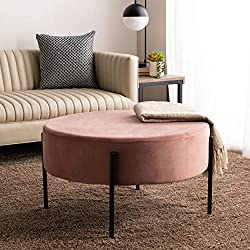Safavieh Home Lisbon Glam Velvet Round Cocktail Ottoman
