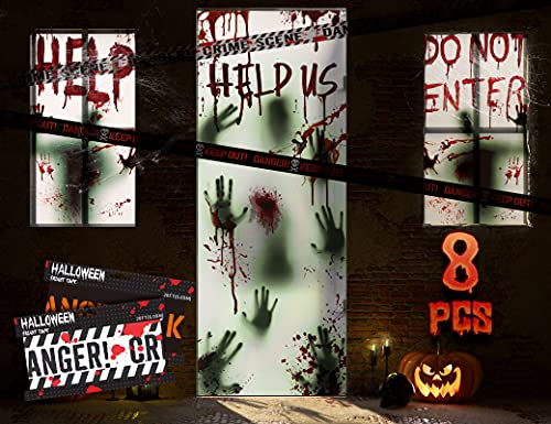 "KD KIDPAR 8Pcs Halloween Window Door Decoration Covers Set, Includes 4Pcs 60×30"" Window Clings&2Pcs 80×36"" Door Posters…"