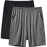JINSHI Pantalones Cortos de Pijama para Hombre Verano Shorts de Modal con Bolsillos 2Pack-07 Large