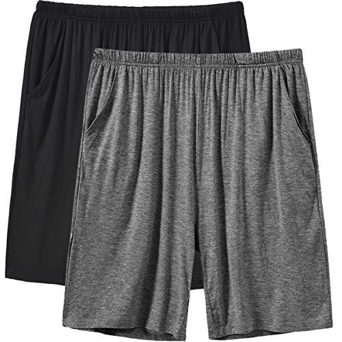 JINSHI Herren Kurz Nachtwäsche Modal Pyjamahose Schlafshorts Schlafanzughosen Schwarz/Dunkelgrau L/XL(US L)