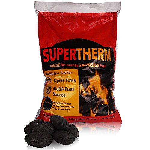 Carbone senza fumo Supertherm - tronchetti grandi e di lunga durata, con sacca di tessuto THE LOG HUT, 20 kg