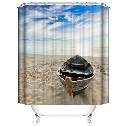 Duschvorhang Anti-Schimmel Wasserdicht Polyestergewebe Antibakteriell Vorhang für Dusche und Badewanne, 3D Strandboot Muster,mit 12 Haken, Duschvorhang Waschbar 150x180 cm