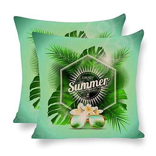 Planta tropical verano hojas tropicales flores lino, funda de almohada de doble cara, planta tropical, máximo 45 x 45 cm, juego de 2 hojas de palma, funda de cojín decorativa para sofá, cama, sillas, etc.