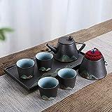 Juego de Taza y platillo Cónico Tea Pot Set Pintura Delicada Vogue Esmalte Montaña Alta Temperatura del Horno ardiente y Dibujado a Mano Negro y Negro para los hogares (Color : Black, Size : Free)