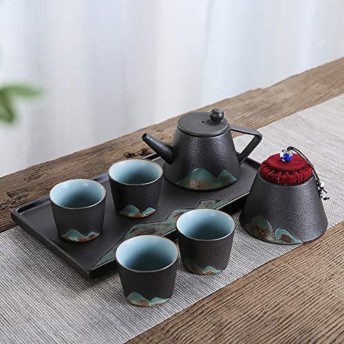 WH-IOE Tasse à thé et Soucoupe Set Effilé Tea Pot Set délicat Peinture Montagne Vogue Glaze Haute température Kiln brûlantes et dessinés à la Main en Noir et Blanc pour Cadeau de Mariage