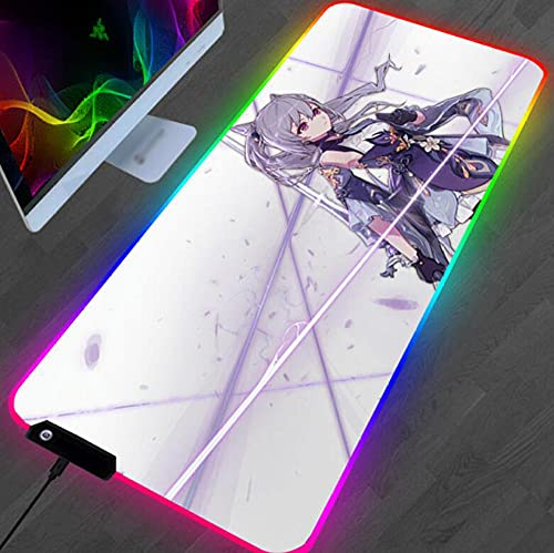 Anime Genshin Impact 3D Impreso Rgb Mouse Pad Regalos Gaming Mat Colorido Escritorio Padmouse Teclado grande Juego Alfombras Color 2 (11.8X31.4) Pulgadas