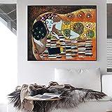 YCHND Gustav Klimt Kiss Cuadros Arte De La Pared Obras De Arte Famosas Poster E Impresiones Pintura Abstracta En Lienzo para La Salon De Estar Decoracion del Hogar 60x80cm Sin Marco