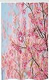 ABAKUHAUS Blumen Schmaler Duschvorhang, Japanische Kirschblüte-Kirsche, Badezimmer Deko Set aus Stoff mit Haken, 120 x 180 cm, Babyblau Hellrosa