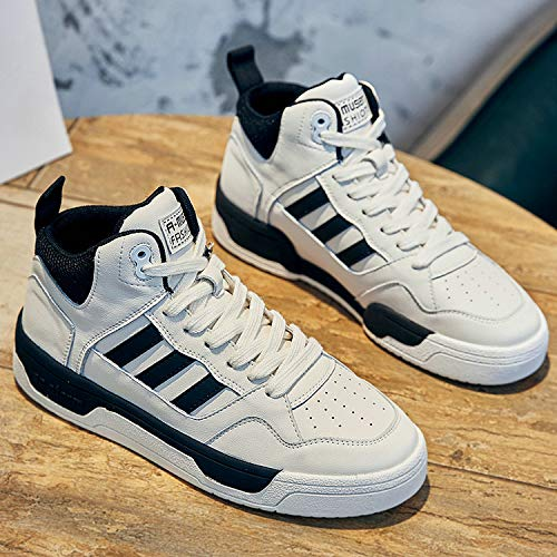 Zapatos Blancos Pequeños De Alta Ayuda Mujeres Cuero Otoño E Invierno Zapatos De Mujer Cuero Vaca Casual Zapatillas De Deporte Pareja De Zapatos Mujeres 43 Negro de los hombres