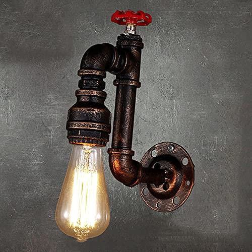 YLJYJ Lámpara de Pared de tubería de Agua Loft Retro Creativo Restaurante Lámpara de Pared Ligera Industrial Steampunk Luces de Pared de una Sola Cabeza