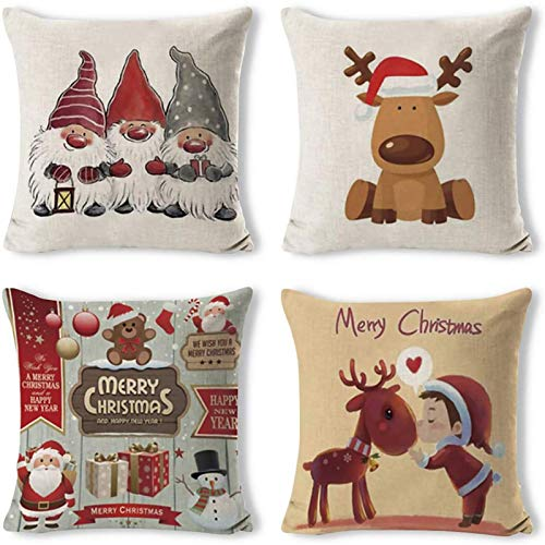 Gudotra 4pcs Cojines Navideños Funda de Almohada de Santa Claus de Algodón de Lino para Sofá Decorativo 45x45 cm Navidad (Santa Claus)