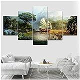 5 Panel/set Bordado de diamantes Punto de cruz La guerra de gremios Ronda completa Pintura de diamantes lago árbol paisaje mosaico