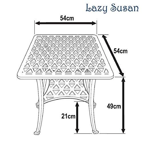 Lazy Susan – SANDRA Quadratischer Kaffeetisch mit 1 APRIL Gartenbank und 2 APRIL Stühlen – Gartenmöbel Set aus Metall, Antik Bronze (Grüne Kissen) - 6