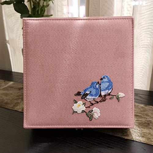 Gu3Je Joyero Joyería de la Vendimia Caja del Anillo con la Caja Collar Bloqueo Antiguo Caja de Regalo para Guardar Joyas (Color : Pink, Size : 26.5x26.5x8cm)