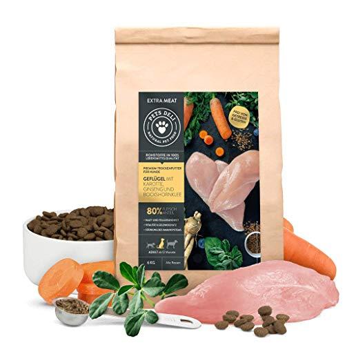 Hundefutter trocken 2 kg | Premium-Qualität | Geflügel mit Karotte, Ginseng und Bockshornklee | Trockenfutter für Hunde mit extra hohem Fleischanteil von 80%, getreidefrei und ohne unnötige Zusätze