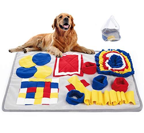 Mocraft Schnüffelteppich Hund,70x50cm Schnüffelteppich Matte Hundespielzeug,Schnüffeldecke Hundespielzeug Fördert Natürliche Nahrungssuche,Schnüffelteppich mit Wäschesack(Blau)