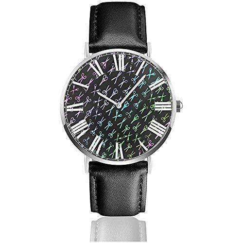 Farbe Schere Friseur Friseur Uhr lässig schwarz Lederband Armbanduhren für Männer Kratzfest männlich