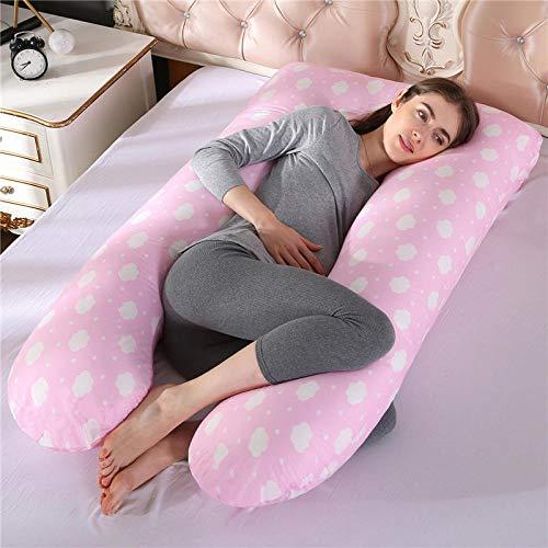 Cuscino Allattamento Cuscini per La Gravidanza in Cotone al 100% Supporto per Dormire per Le Donne in Gravidanza A Forma di U.-Rosa-Nuvola
