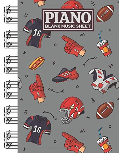 Piano Blank Music Sheet: Notebook Manuscript Paper with American Football Themed Cover Design