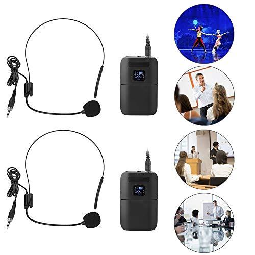 Garsent Drahtloses Mikrofon Headset, tragbares drahtloses UHF Kopfmikrofon mit Empfängersender 2 in 1 wiederaufladbares Mikrofon